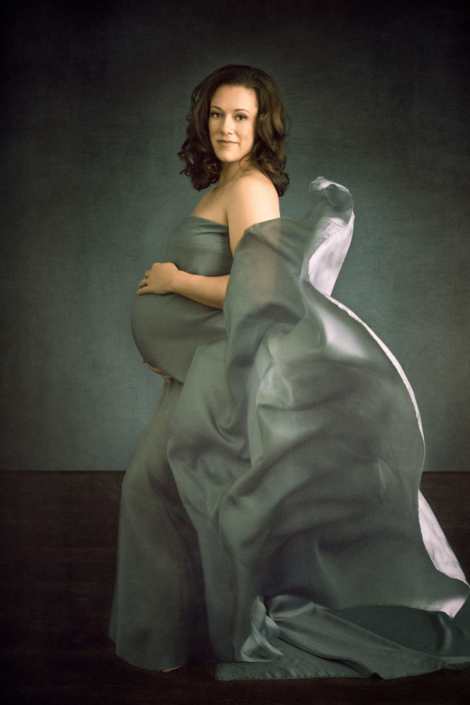 Rachel Blair in blue silk during her maternity session at 8 months pregnant.